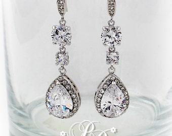 Wedding Earrings Teardrop Zirconia Earrings Wedding Jewelry Bridesmaid Earrings Wedding Accessory Bridal Earrings Bridal Jewelry Jess