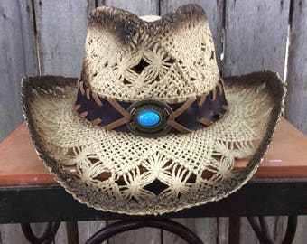 Childs Tan Straw Western Hat with Brown Band and Blue Turquoise Colored Medalion with Stitching Around  Brim