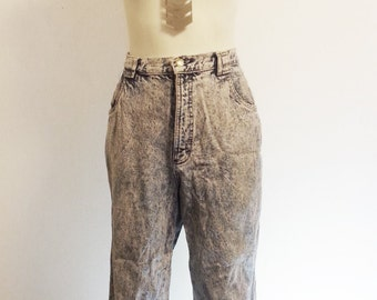 SALE 80's High Waisted Acid Washed Straight Leg Jeans