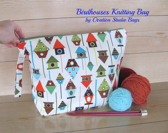 Birdhouses Knitting Bag, Zipper Bag for Knitters, Crochet project bag, Knitting accessory or large Toiletries bag