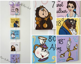 Beauty and the Beast Nursery Decor  Hand painted birth announcement sign