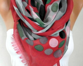 Easter , Gray&Red Polka Dot Cotton Scarf,Summer Shawl,Birthday Gift,beach wrap, Cowl Oversized Wrap Gift For Her Women Fashion Accessories