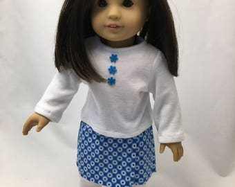 18 inch doll clothes; doll skirt, top, and leggings