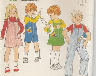 Girls Jumper Pattern Boys Jumpsuit Front Zipper Girls and Boys Size 4 Uncut Butterick 5874