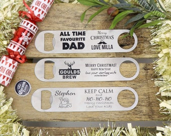 Engraved Christmas Xmas Gift Stainless Steel Personalised Bottle Opener Large Waiters Friend- Present- Many Layout options