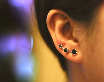 Black Onyx Ear Climbers Sterling Silver