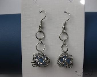 Blue Crystal Chain Stainless Steel Earrings