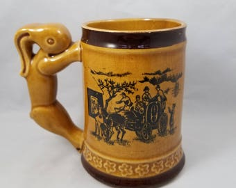 Occupied Japan Beer Stein with Rabbit Handle,  Mid Century Beer Tankard, Beer Mug with Horses and Carts