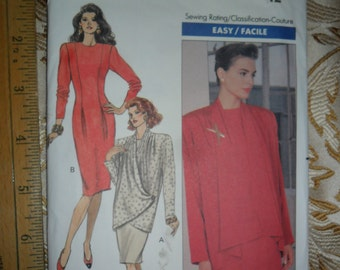 Uncut - Vintage 1989 Butterick Pattern 4403 for Misses Jacket & Dress -size 12