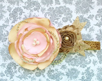 Beautiful Made to Match Light Pink and Gold Satin Couture Headband for Pink/Gold Tutu Dress First Birthday Baby Girl 6-18 Months Old