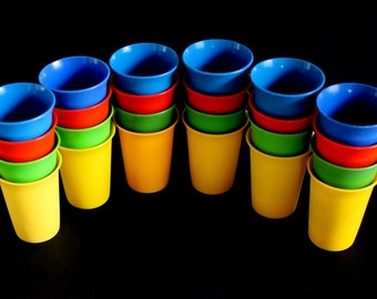 Tupperware Tumblers (priced per set of 4), Primary Colors 7 oz Bell Tumblers, 109, Plastic Cups, Red Yellow Blue Green