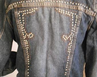 Vintage Denim Bongo Studded Jacket ~ Medium Med Indie ~ New Wave ~ Rock a Billy Billy