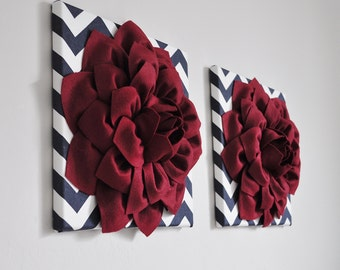 """Red White Blue Wall Decor Wall Hangings -Cranberry Red Dahlia on Navy and White Chevron 12 x12"""" Canvas Wall Art- 3D Felt Flower Wall Decor"""