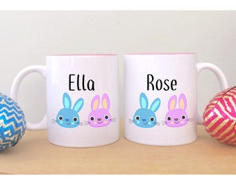Easter bunny mug easter gifts for kids childrens easter 2 easter mugs with names cute easter gifts for kids childrens easter gift unique mugs sugar negle Image collections