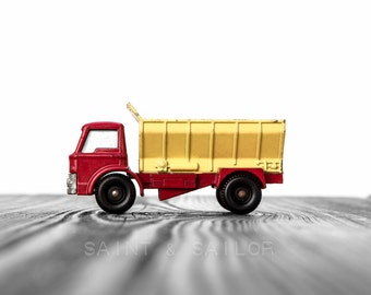 Vintage Red and Yellow Dumptruck  on White and Grey Photo Print,  Wall Decor, Playroom decor,  Kids Room, Nursery Ideas, Gift Ideas,