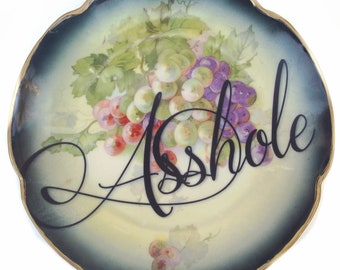 SALE - Damaged - Asshole Display Plate 8.25""