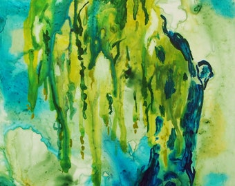 "Original Acrylic Yupo Painting, Weeping Willow, 5""x7"""