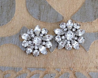 Crystal rhinestone cluster earrings, post back, something old bridal jewelry, rustic wedding, bridesmaid gift, repurposed vintage buttons