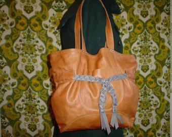 Grey and Camel Leather Tote\/Bag
