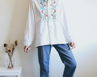Vintage Embroidered Shirt, 70s Peasant Tunic, Boho Blouse, Bohemian Clothing, Hippie Blouse, Embroidery