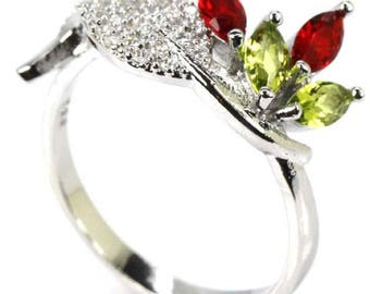 Sterling Silver Blood Ruby & Peridot Gemstone Ring With AAA CZ Accents Size 9.5