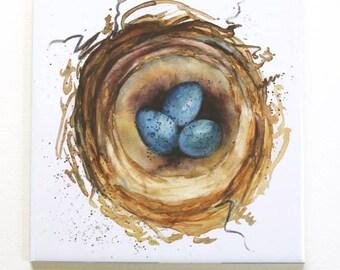 Nest with Blue Eggs Stone Tile Trivet Original Watecolor