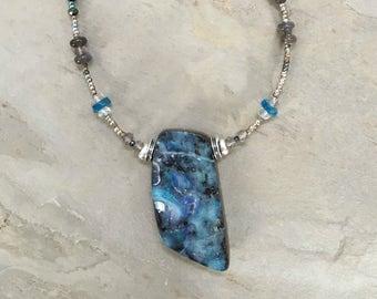 Australian Boulder Opal Pendant, Labradorite, Neon Apatite & Sterling Silver
