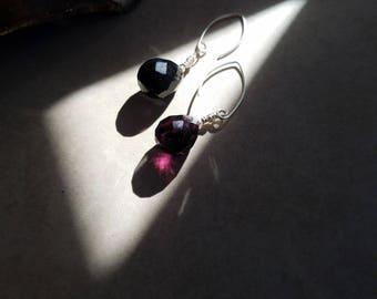 Teardrop Faceted Amethyst Earrings Dark Purple Gemstone Earrings Dangle Earrings Sterling Silver Ear Wires  Boho Chic by LizzieTishBoutique