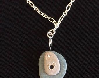 Maine Beach Stone-on-Stone Pendant