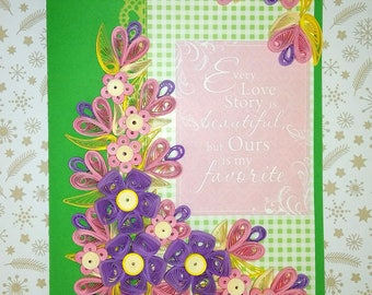 Greeting card Congratulations card Love card Quilling card Handmade card Paper pink flowers 3d Wedding card Quilled art Quilling flowers