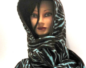 Handmade Hood. Hoody, Scarf, hooded Scarf, Scoodie, Scoody, Brown, Zebra