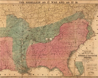 Poster, Many Sizes Available; Civil War Map Border & Southern States 1863 P3