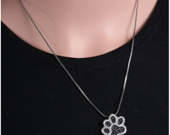Dog Paw necklace Black White  Rhinestone Pendant Necklaces Jewelry Vintage Rhodium Plated for women best gifts