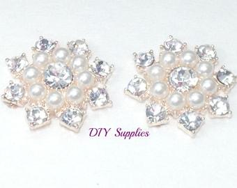 Set of 2 metal pearl and rhinestone flat backs - pearl rhinestones - hair flower center -hair bow supplies - metal rhinestone