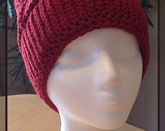 """Soft & Cozy """"Do The Twist"""" Hat * Berry Red * Teen/Adult Size"""