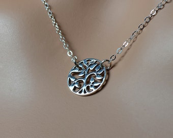 All Sterling Silver Tree Of Life Circle Necklace, Dainty Sterling  Necklace Minimalist Tree Life
