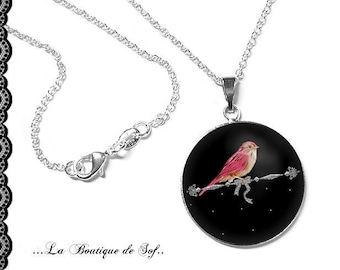 925 Sterling Silver Chain: 25 mm cabochon necklace * bird * (070218)