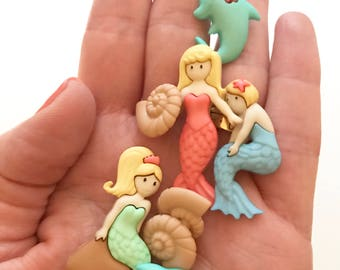 Mermaid and dolphins buttons, mixed buttons, novelty buttons, kids buttons, dress it up buttons