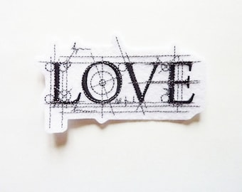 Love patch, embroidery, fusible