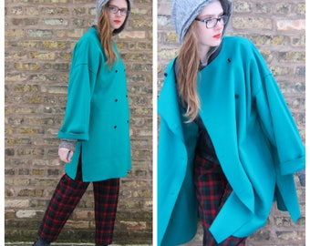 Vintage 1980s Aquamarine Blue Felt Wool Coat by Geoffrey Beene for Gallant 80s Oversized Coat Dress Blue Green Boiled Wool Black Buttons XL