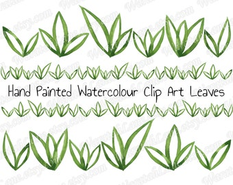 Watercolor Clip Art Leaves Clipart Border Row Digital Clip art Grass Green Nature Clip art Set for wedding clip art watercolour clip art