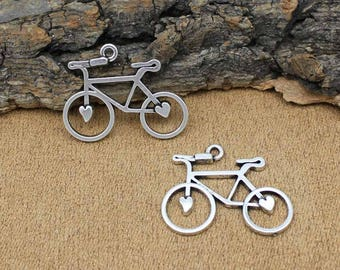 Bicycle pendant etsy 25pcs bicycle charms antique tibetan silver bike charms pendant 31x23mm c2096 y aloadofball Image collections