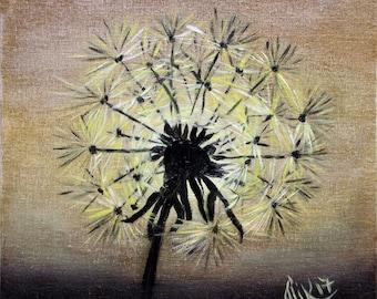 Picture Sunrise, Dandelion. Drawing on the canvas oil paints.