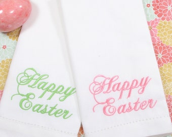 Happy Easter Napkins Script Embroidered Cloth /Set of 4/ Easter embroidered napkins, easter cloth napkins, easter linens, Easter table ideas