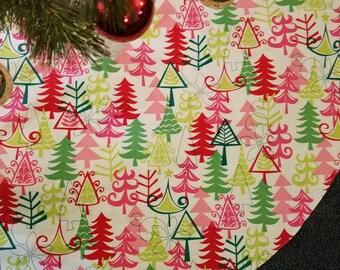 "40"" Christmas tree skirt. Modern pink and green trees."