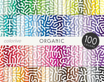 Organic Pattern digital paper 100 rainbow colors natural reef coral sea background bright pastel printable scrapbook papers