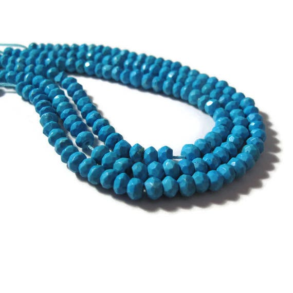 Turquoise Faceted Rondelles, 3mm - 3.5mm, 6.5 Inch Strand of Turquoise Beads, Jewelry Supplies, Gemstone Beads (R-Tu1)