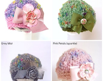 Posh Beanie Newborn Photo Prop Baby Girl Hat Hand Knitted Going Home Cap Shower Gift Infant Bow Cap Coming Spring Outfit Ready Ship Organic