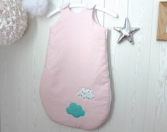 Baby sleeping bag, pink, white & green, with size options