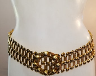 FREE  SHIPPING   1980  Gold  Metal  Chain  Belt